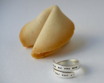 Man silver personalized, Adjustable ring, custom, a good luck charm in a fortune cookie gift box.