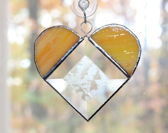 Handmade Stained Glass Bevel Heart Suncatcher - Yellow