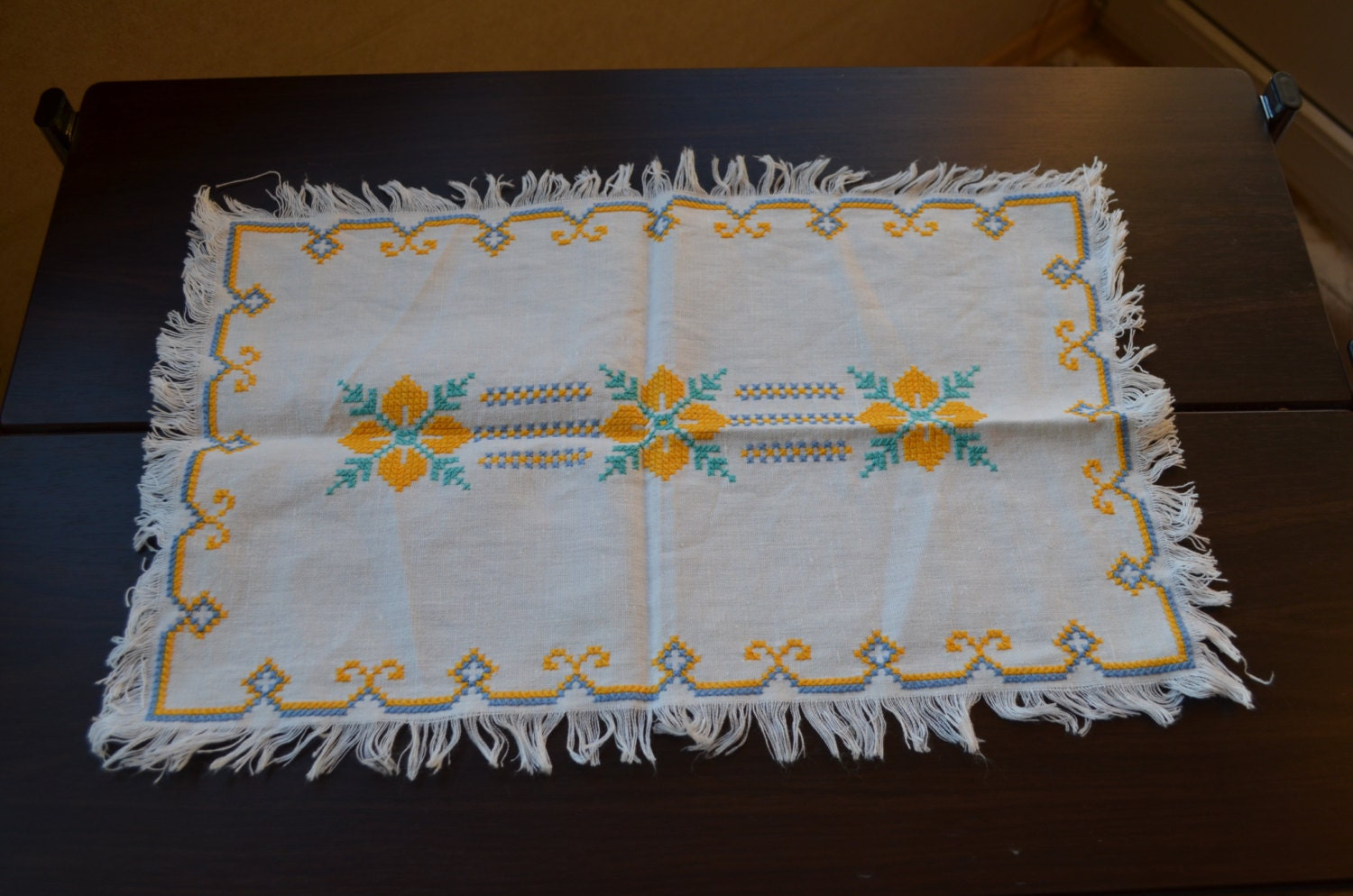 Vintage Handmade Napkin Cross Stitch, Needlepoint, Ukrainian style ornament, cro