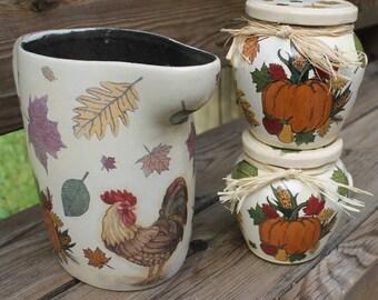 Handmade Glass Jars and Ceramic  Jug in Decoupage Style,Kitchen Decor