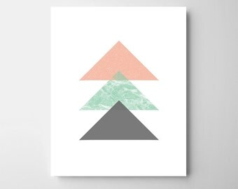 Graphic print in teal , grey and peach-geometric illustration-kids room art-nursery triangle art-nursery art print-modern nursery art