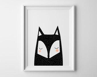 fox nursery art print, scandinave, nursery decor, baby art, nursery wall art ,baby boys, baby girls, nursery decor