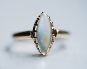 Circa 1940s Vintage 10k Yellow Gold Moonstone Ring *Mystical* Marquise Shaped, ATL #414