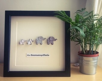 Origami Elephant family picture frame - personalised new family or baby shower gift.