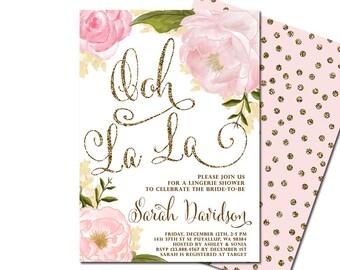 Blush Pink & Gold Glitter Lingerie Bridal Shower Invitation