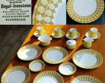 royal china sierra madre pattern 20 piece set ironstone dinnerware atomic plates dishes mid - Modern Dinnerware