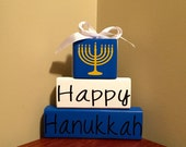 Happy Hanukkah Wood Block Set Sign Home Decor Chanukah Jewish Menorah Holiday Festival Sign Personalized Gift Customized