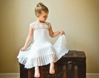 Rustic Ivory Flower Girl Dress with Embellished Neckline