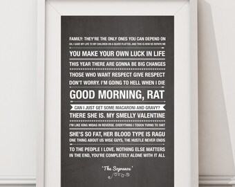 The Sopranos Quotes - HIGH QUALITY PRINT -  Choose Your Size - Wall Art - Poster Print - Modern Design