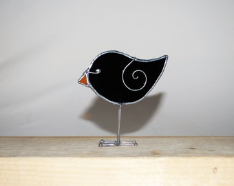 Fun 3D Stained Glass Bird Chick with legs Ornament - Black Crow Baby  Home Decor Suncatcher 3Dimensional Wire Wings