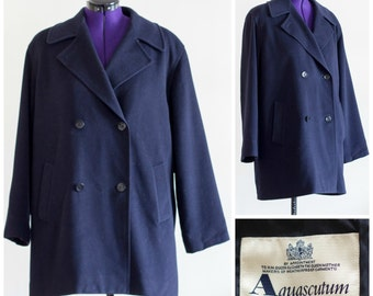Navy blue wool coat from Aquascutum of London SIZE 16 R