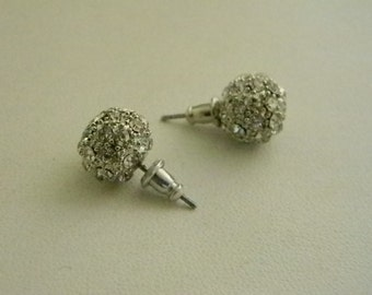 Round Silver Tone Clear Rhinestone Ball Pierced Earrings