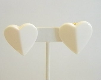 Large White Lucite Heart Shaped Clip Earrings