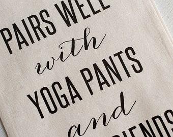 Wine Gift, Gift for BFF, Yoga Pant Lover, Yogi Present, Gifts Under 15, Wine Lover, Wine and BFF, Wine Bag, Funny Gift, BFF Christmas