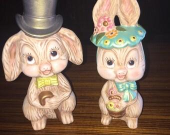 """Vintage ceramic chalkware Easter cuties, 7"""""""