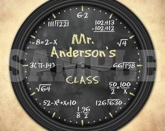 Math Equation Chalkboard Personalized Decorative Wall Clock - Teacher Gift