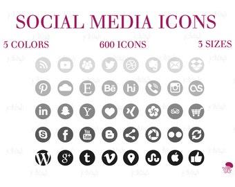 Social Media Icons Set Gray Black Download