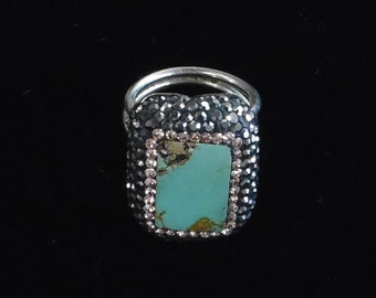 Turquoise Stone - Sterling Silver Ring