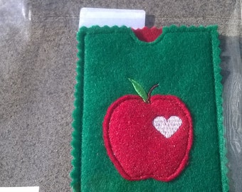 "Gift card holder, credit, debit. Applique Apple with heart detail 4 1/4"" x 3"""