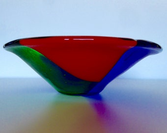 Colourful fused glass bowl, small China bowl shaped