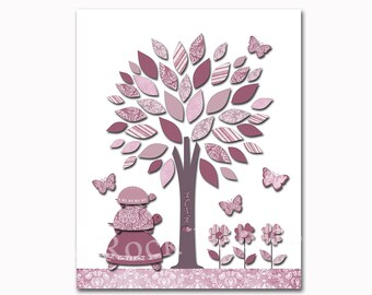 Red grey tree nursery wall decor baby girl room wall art kids room wall print nursery  decoration for baby girl kids room artwork