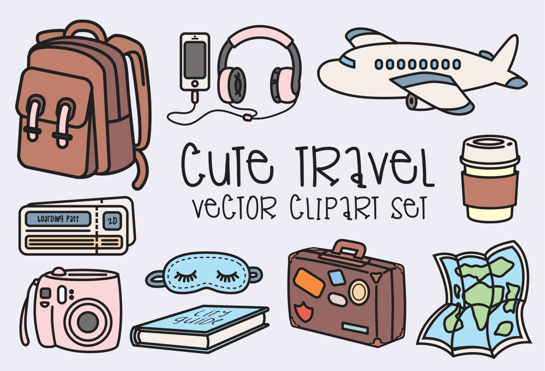 Premium Vector Clipart Kawaii Travel Clipart Kawaii Clip