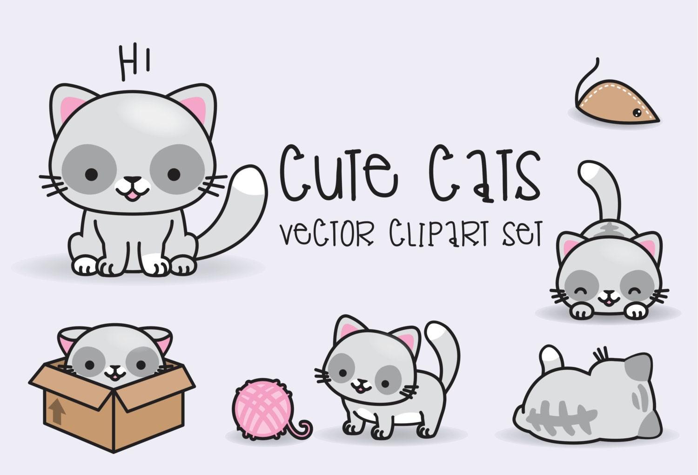 Premium Vector Clipart Kawaii Cats Cute Cats Clipart Set