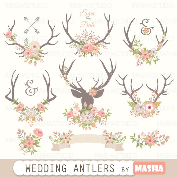Antlers clipart: WEDDING ANTLERS CLIPART with