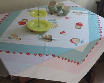 Pretty Fruit Print Vintage Tablecloth With Cherries Border