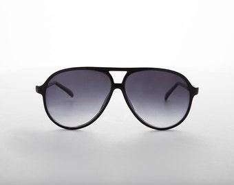 Large Frame Pilot Aviator Vintage Sunglasses  Black or Brown Tortoiseshell with Gradient Lens - Champ
