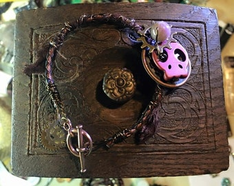 Steam Punk Skull and Gear Wire Wrapped Bracelet