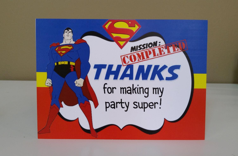 Superman Thank You Card Superhero Thank You Card Superman