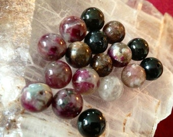 Natural multicolor tourmaline beads 8mm