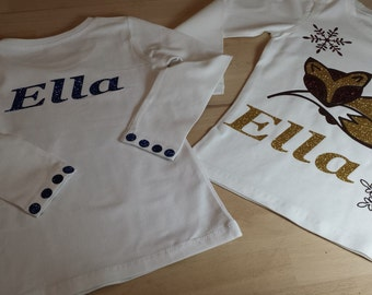 Body, bonnet and tee shirt in flocking with first name personalisation.
