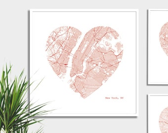 New York City Heart Map - Art Print