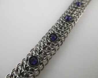 Small Stainless Steel Dragonback Chainmaille Bracelet With Purple Swarovski Crystal Studs, Chainmail Bracelet, Chain Jewelry