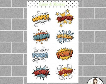 Comic Word Planner Stickers