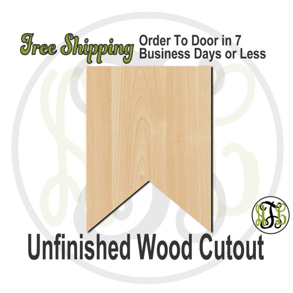 """Plaque Flag Banner- 2"""" to 6"""" Minis- 40034- Small Wood Cutout, unfinished, wood cutout, wood craft, laser cut, wood cut out, ornament"""