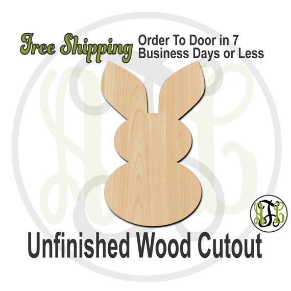 """Bunny 2- 2"""" to 6"""" Minis- 230038- Small Wood Cutout, unfinished, wood cutout, wood craft, laser cut shape, wood cut out, ornament"""