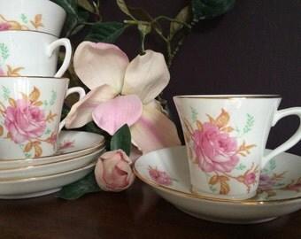 Set of 4 Vintage Collingwood Demitasse Cups and Saucers