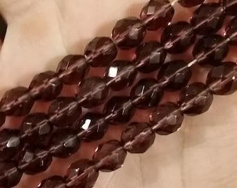 Amethyst 8mm fire polish beads - 50 pcs