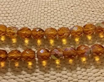 Topaz AB 8mm fire polish beads - 50 pcs