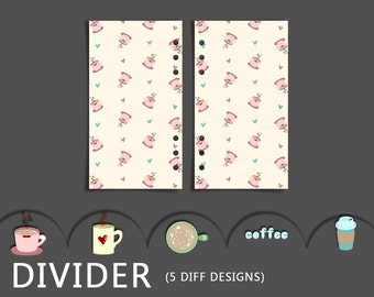Personal Planner Insert - Printable Dividers - 5 Different Coffee Inspired Designs