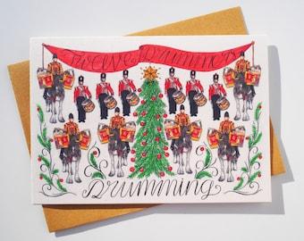 Twelve Drummers Drumming Christmas Card