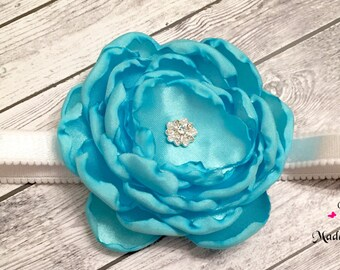 Satin Blue Flower Headband, Baby Girl, Adult, Blue and White, Photo Prop
