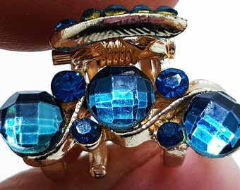 New  Small Teal Blue Turqouise Crystal  Gold 3/4'' Hair Claw Clip