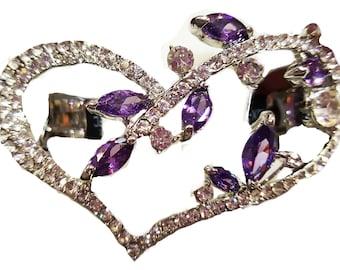 New Silver Amethyst  CZ Crystal & Rhinestone Heart  Hair 2 1/2'' Barrette
