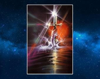 Excalibur Fridge Magnet. Fantasy Art. Lady in the Lake
