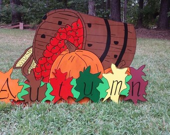 Apples in Barrel And Autumn Sign 2 pieces