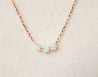 Opal Necklace, White Opals, Gold, Silver or Rose Gold Necklace, Girlfriend Gift, Bridesmaid Gift, Minimal Necklace [101]